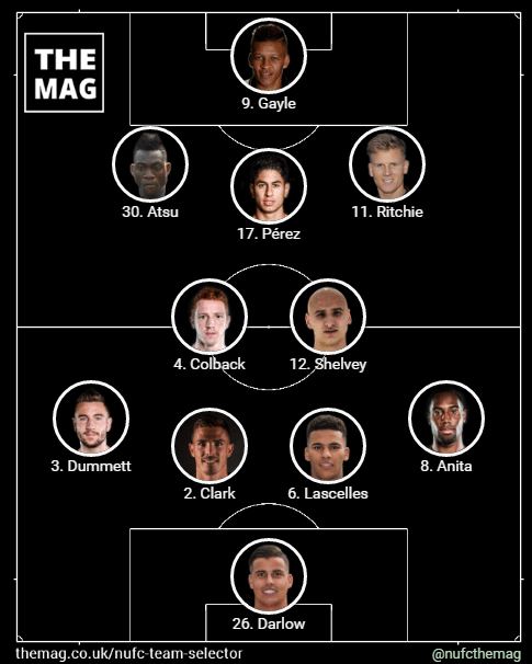newcastle team v fulham