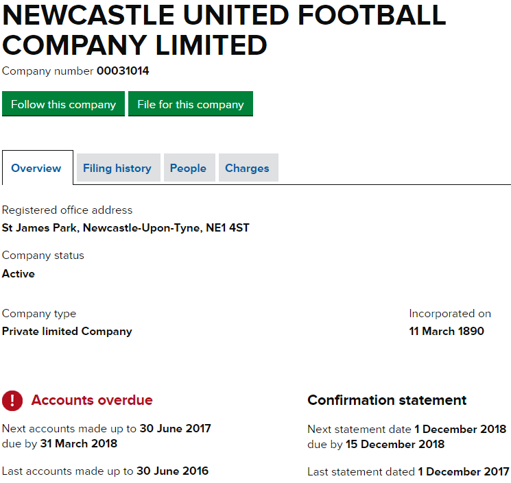 newcastle united accounts