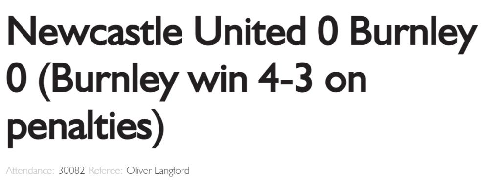 Newcastle 0 Burnley 0 Official Match Report