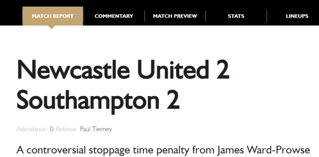 Newcastle 2 Southampton 2 Official Match Report