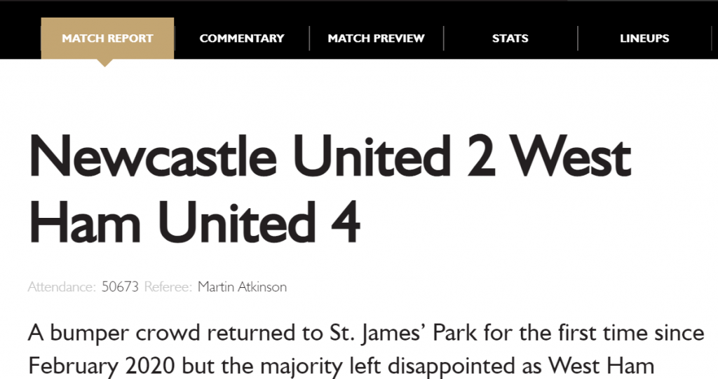 Newcastle 2 West Ham 4 Official Match Report