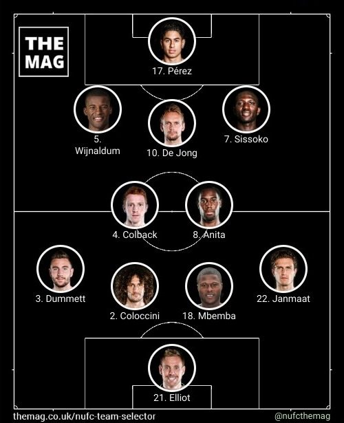 newcastle team v crystal palace