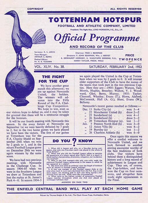 Tottenham_Hotspur_Newcastle_United_FA_Cup_Programme_1952