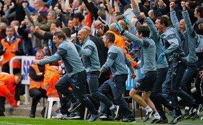 Bench Celebrate Newcastle United v West Ham May 2015