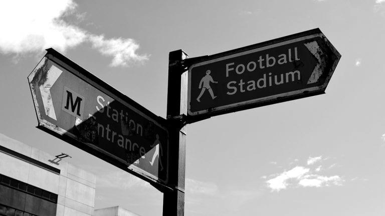 Football Stadium Metro Entrance Street Sign
