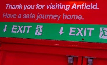 Liverpool Thank You For Visiting Anfield Sign