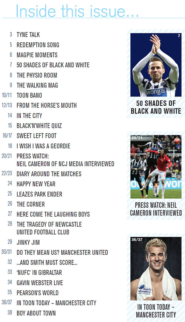 Newcastle United Magazine - The Mag Issue 286 Content Page