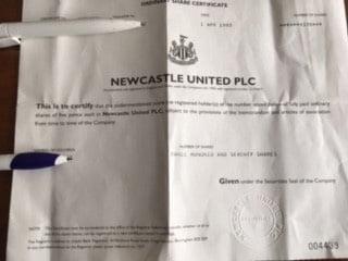 Newcastle United PLC Share Certificate